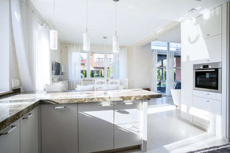 Kitchen and dining room in luxury apartment Banco de Imagens