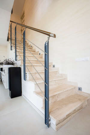 anteroom: Vertical view of marble stairs in luxury apartment