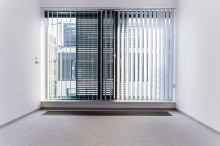 View of enormous window in empty office Stockfoto
