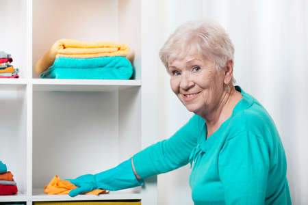 Smiling senior woman cleaning house before Christmas Standard-Bild