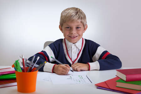 Horizontal view of cute smiling child writing at school photo