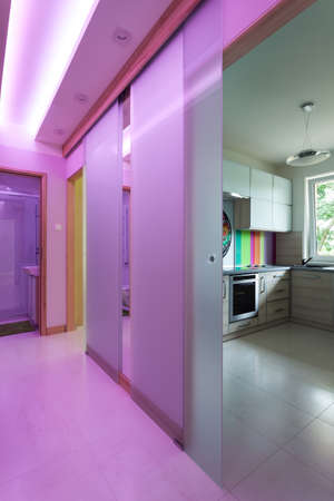Modern hall with glass door to kitchen photo