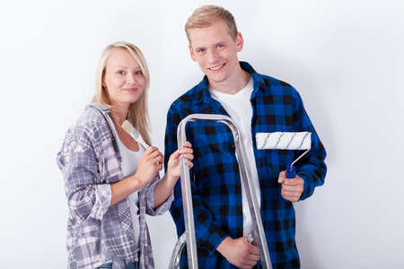 Young couple renovating their first home photo
