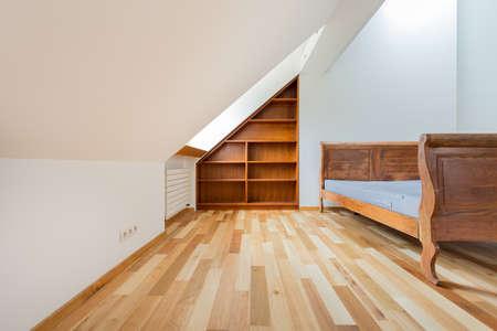 Wooden deisgn of space bedroom Stock Photo