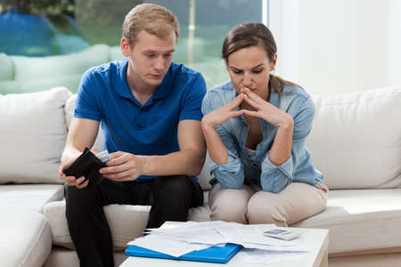 budget crisis: Image of young couple having financial problems