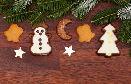 snack time: View of ginger cookies during christmas time Stock Photo