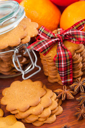 Gingerbread decoration on a christmas table, vertical photo