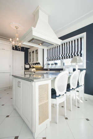 Old fashioned kitchen with luxury dining room photo