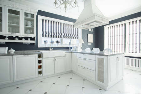 Photo of new luxury stylish kitchen Stock Photo