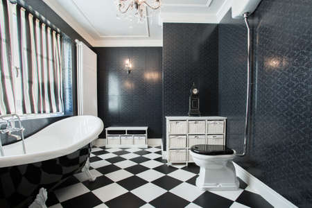 white tile: Photo of modern white and black bathroom