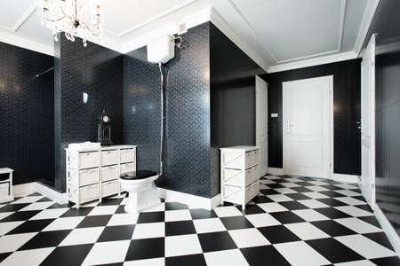 Luxury design of bathroom with marble floor photo