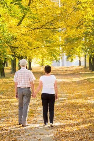 ancianos caminando: Pareja de ancianos caminando celebración de las suyas las manos