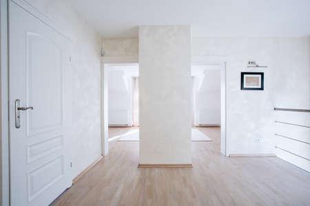 anteroom: Horizontal view of spacious hall with white doors