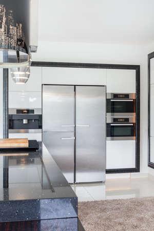 refrigerator kitchen: Modern kitchen interior with stainless steel refrigerator