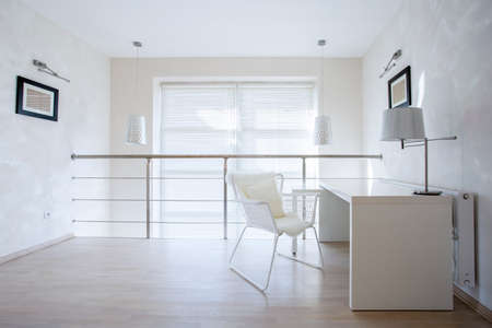 Horizontal view of small private office at home