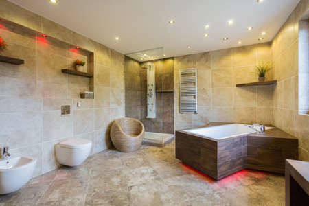 bathroom design: Luxury and modern bathroom interior with wooden elements