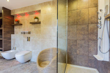 Interior of modern bathroom with transparent shower photo