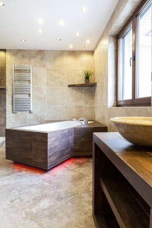 luxury bathroom: View of modern bathtub in luxury bathroom