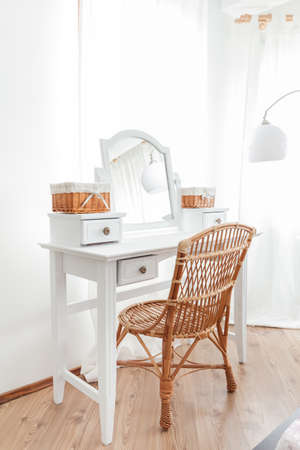 Beauty vintage dressing table with wicker chair