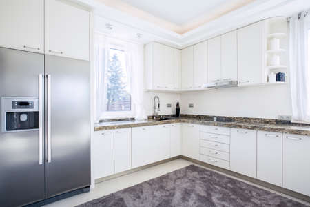 Big bright kitchen with modern equipment Stockfoto