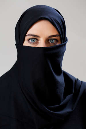 middle eastern ethnicity: Middle Eastern woman wearing the face veil