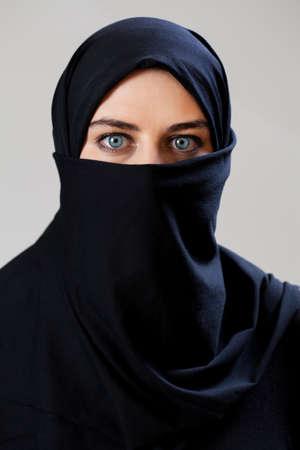 middle eastern woman: Middle Eastern woman wearing the face veil