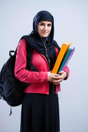 Vertical view of muslim girl before school