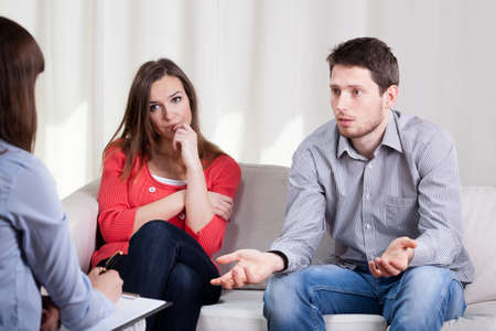 View of couple with problems during psychotherapy