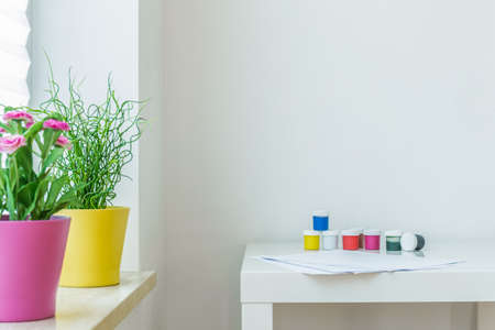 Picture of colors on the white coffe table
