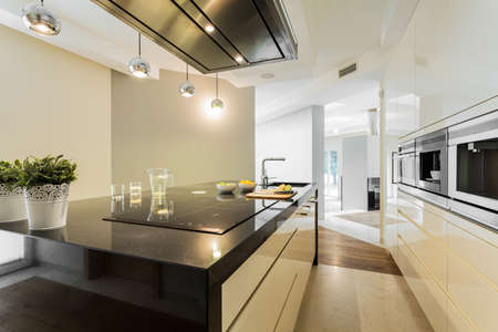 kitchen countertops: Horizontal view of countertops in designer kitchen