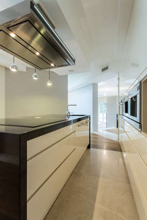 countertops: Vertical view of worktop in contemporary kitchen Stock Photo