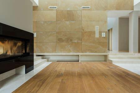 Close-up von elektrischen Kamin im Wohnzimmer Standard-Bild - 34251467