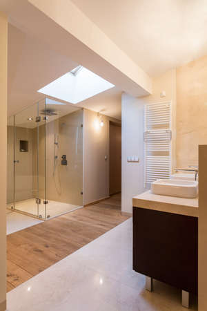handbasin: View of spacious bathroom in luxury apartment