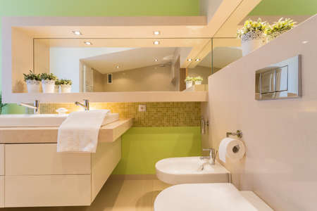 handbasin: Modern illuminated bathroom with green painted wall