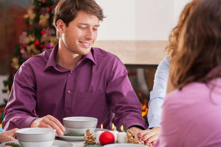 chritmas: Young couple and romantic Chritmas supper