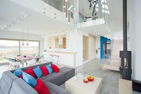 View of modern interior with color elements photo