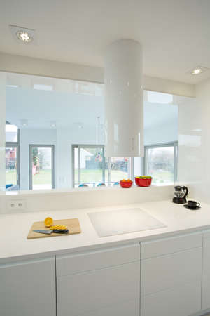 kitchen countertops: View of white furniture in contemporary kitchen Stock Photo