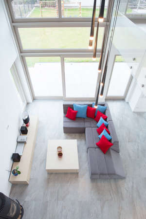 Luxury modern drawing room - view from above photo