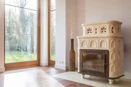 White vintage style stove in living room