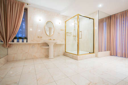 luxury bathroom: Luxury spacious bathroom interior  in contemporary house
