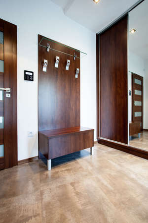 anteroom: Vertical view of anteroom with wooden elements Stock Photo