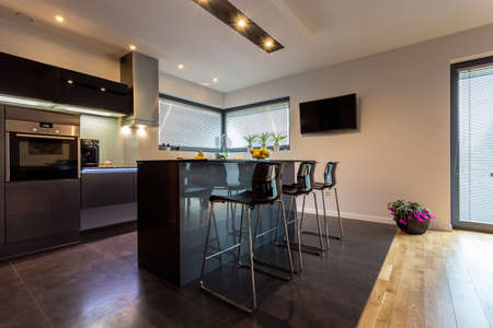 Intérieur de cuisine de luxe moderne avec des éléments en acier Banque d'images - 34253532