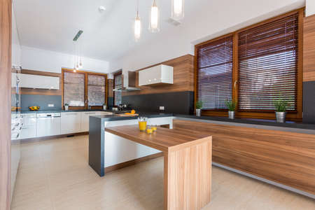 New stylish dining room in big residence