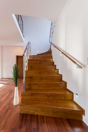wooden stairs: Wooden fancy staris leading to the first floor
