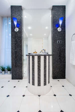 handbasin: Black and white luxury bathroom in beauty house