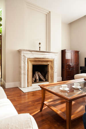 woodburning: Close-up of traditional fireplace in luxury parlour