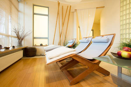 beauty center: Horizontal view of elegant spa in hotel