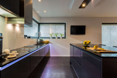 countertops: View of dark furniture in white painted kitchen