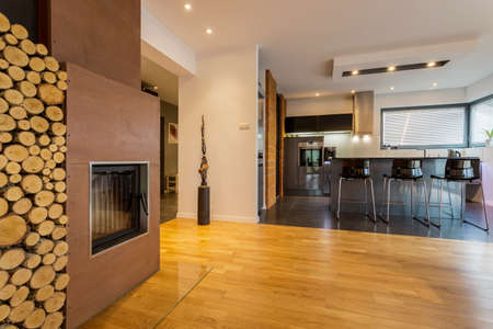 drawing room: Modern kitchen and drawing room with fireplace