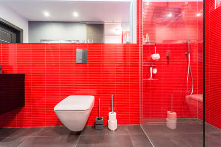 handbasin: Red tiles on the wall in modern toilet Stock Photo
